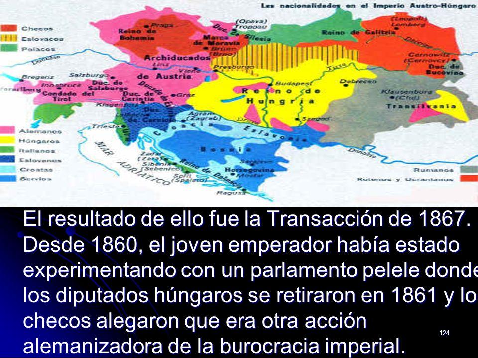 124 El resultado de ello fue la Transacción de 1867. Desde 1860, el joven emperador había estado experimentando con un parlamento pelele donde los dip