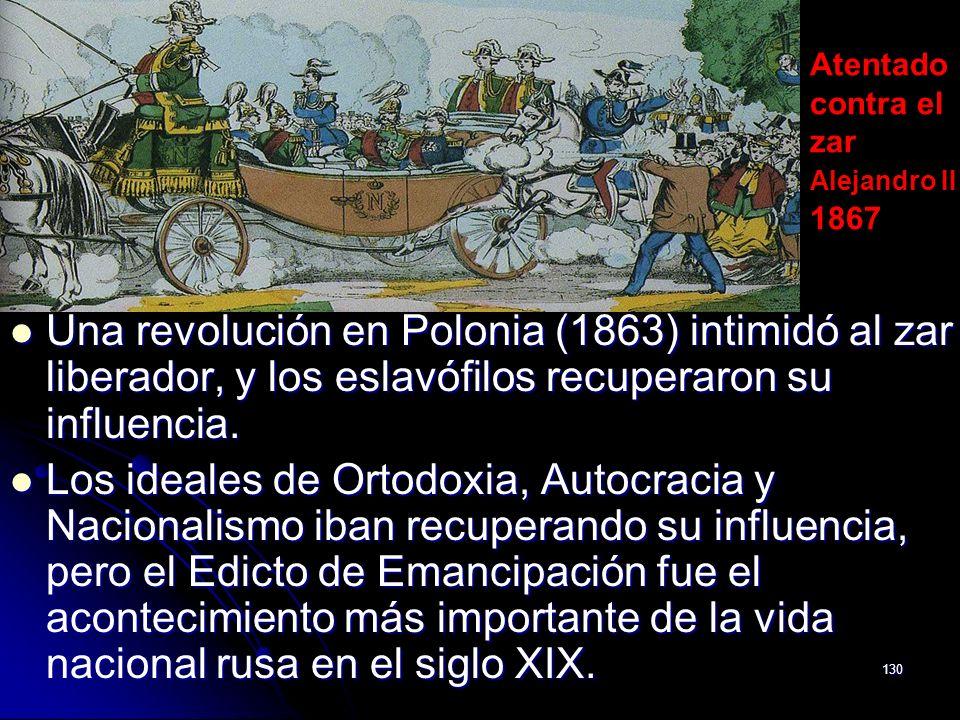130 Una revolución en Polonia (1863) intimidó al zar liberador, y los eslavófilos recuperaron su influencia. Una revolución en Polonia (1863) intimidó