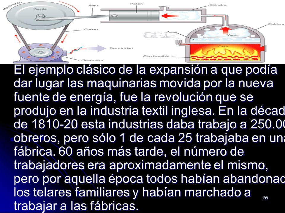 199 El ejemplo clásico de la expansión a que podía dar lugar las maquinarias movida por la nueva fuente de energía, fue la revolución que se produjo e