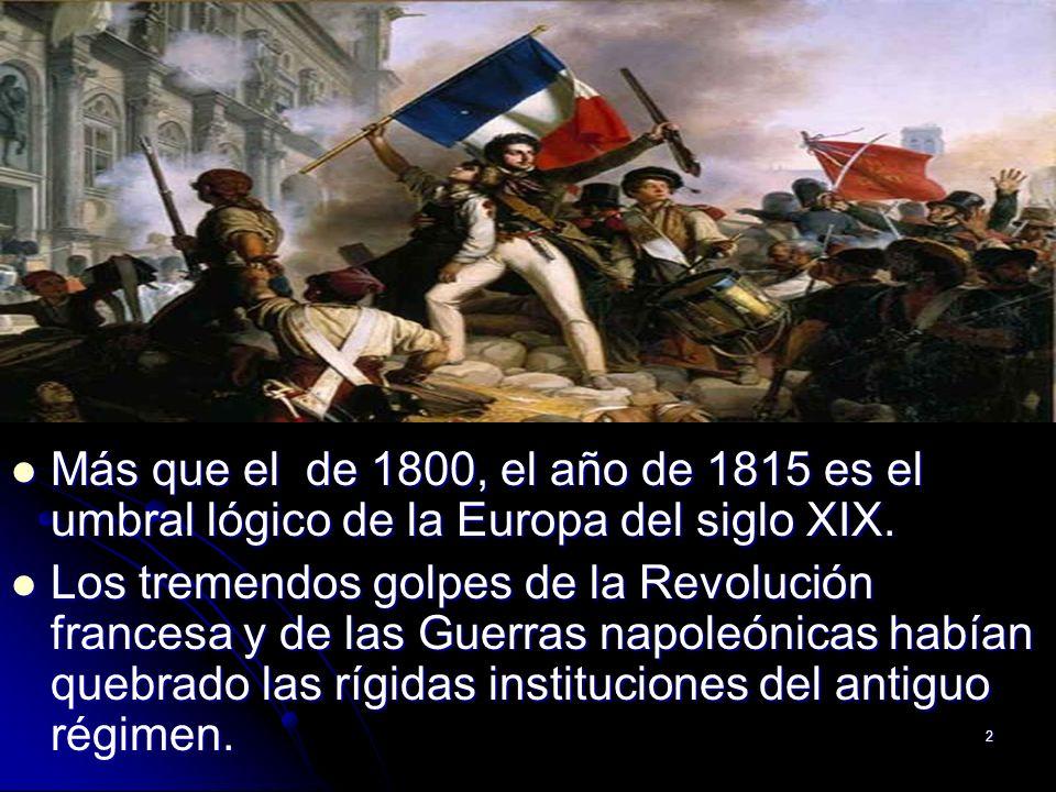 2 Más que el de 1800, el año de 1815 es el umbral lógico de la Europa del siglo XIX. Más que el de 1800, el año de 1815 es el umbral lógico de la Euro