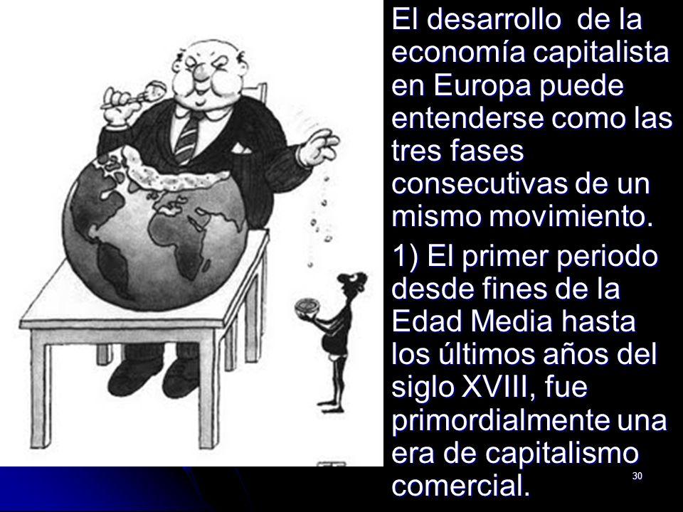 30 El desarrollo de la economía capitalista en Europa puede entenderse como las tres fases consecutivas de un mismo movimiento. El desarrollo de la ec