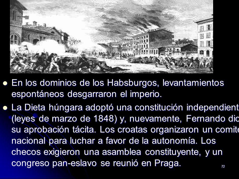 72 En los dominios de los Habsburgos, levantamientos espontáneos desgarraron el imperio. En los dominios de los Habsburgos, levantamientos espontáneos