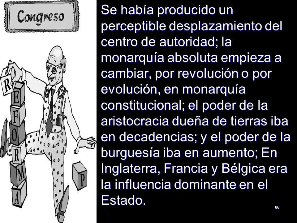 86 Se había producido un perceptible desplazamiento del centro de autoridad; la monarquía absoluta empieza a cambiar, por revolución o por evolución,