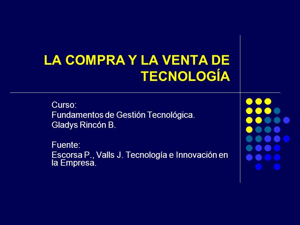 LA COMPRA Y LA VENTA DE TECNOLOGÍA Curso: Fundamentos de Gestión Tecnológica.