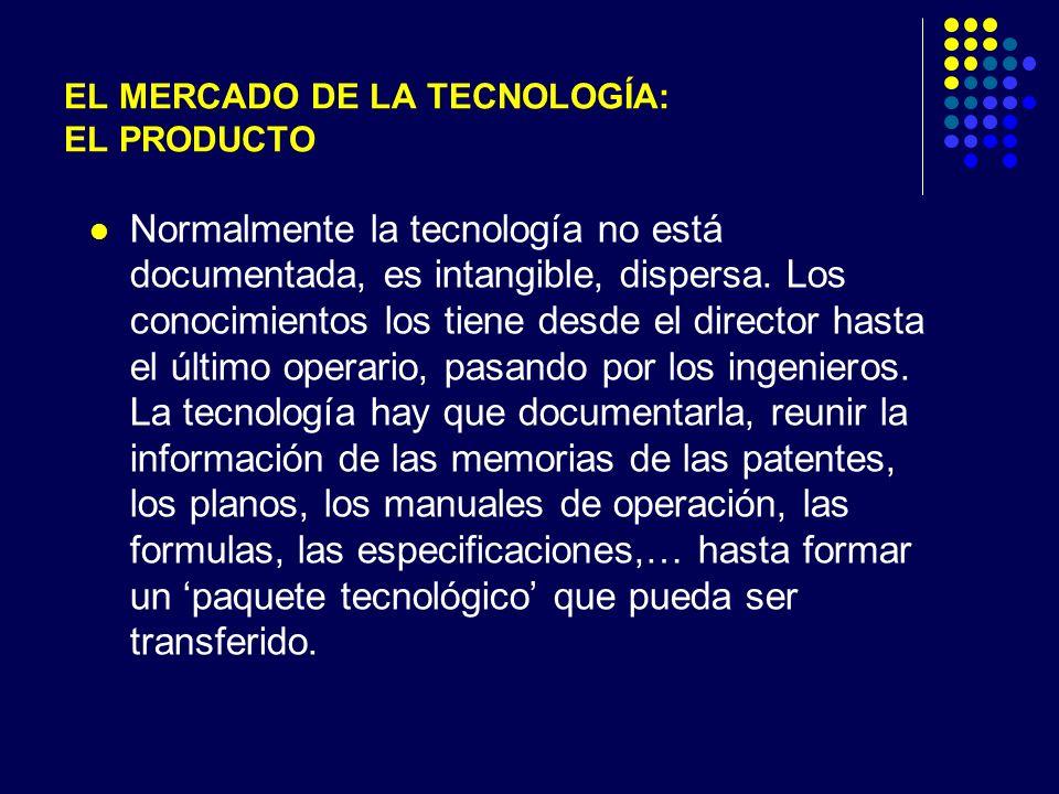 EL MERCADO DE LA TECNOLOGÍA: EL PRODUCTO Normalmente la tecnología no está documentada, es intangible, dispersa.