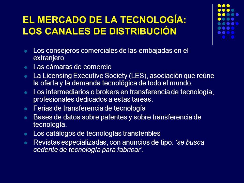 EL MERCADO DE LA TECNOLOGÍA: LOS CANALES DE DISTRIBUCIÓN Los consejeros comerciales de las embajadas en el extranjero Las cámaras de comercio La Licensing Executive Society (LES), asociación que reúne la oferta y la demanda tecnológica de todo el mundo.