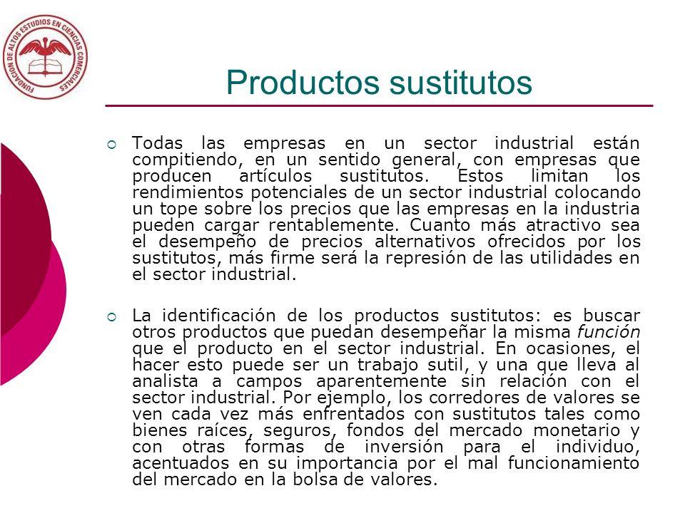 Productos sustitutos Todas las empresas en un sector industrial están compitiendo, en un sentido general, con empresas que producen artículos sustitut