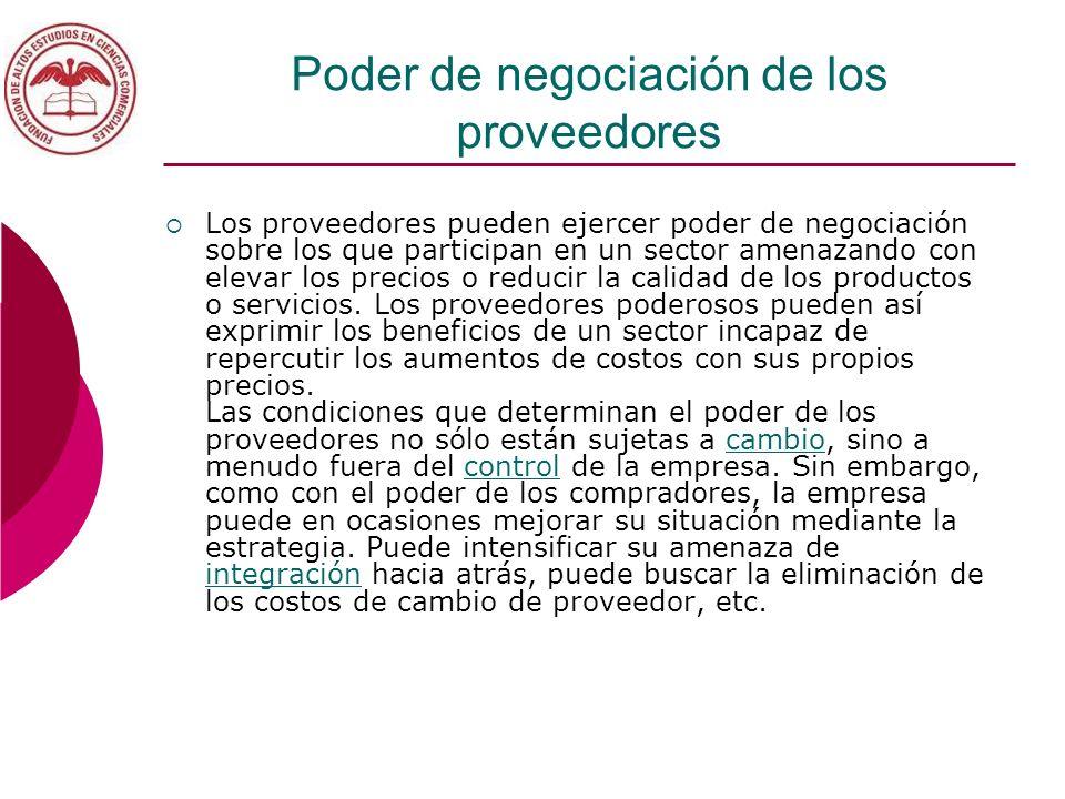Poder de negociación de los proveedores Los proveedores pueden ejercer poder de negociación sobre los que participan en un sector amenazando con eleva