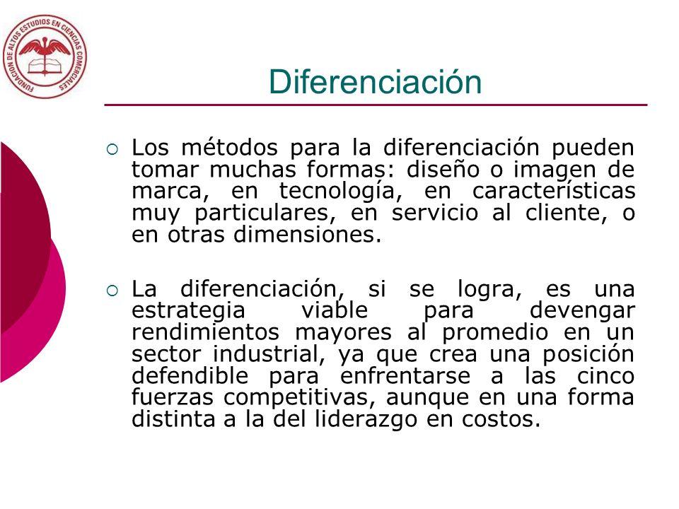 Diferenciación Los métodos para la diferenciación pueden tomar muchas formas: diseño o imagen de marca, en tecnología, en características muy particul