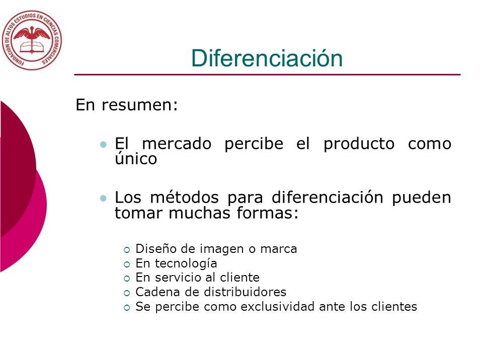Diferenciación En resumen: El mercado percibe el producto como único Los métodos para diferenciación pueden tomar muchas formas: Diseño de imagen o ma