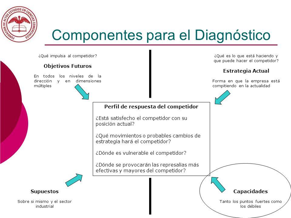 Componentes para el Diagnóstico Perfil de respuesta del competidor ¿Está satisfecho el competidor con su posición actual? ¿Qué movimientos o probables