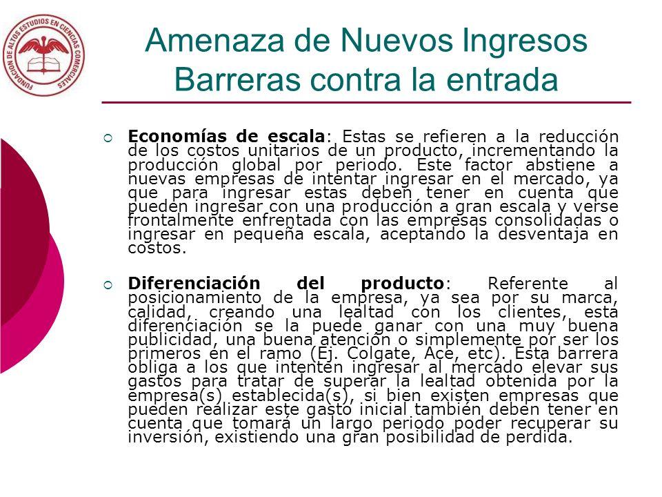 Amenaza de Nuevos Ingresos Barreras contra la entrada Economías de escala: Estas se refieren a la reducción de los costos unitarios de un producto, in