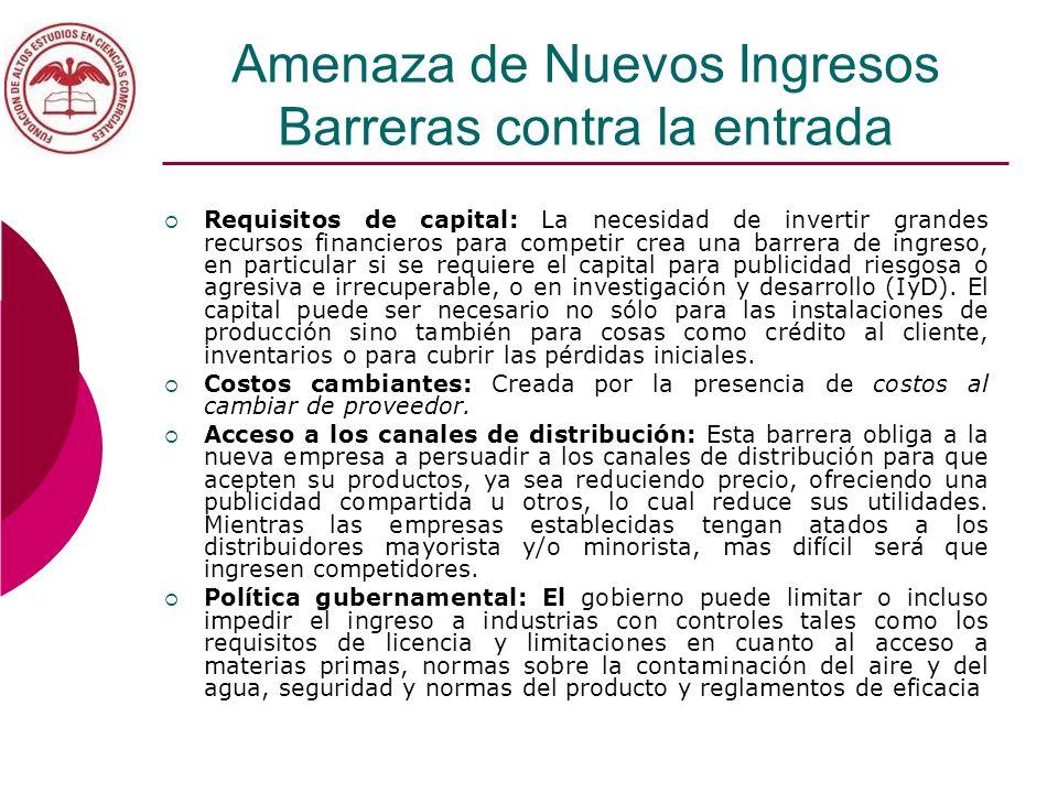Amenaza de Nuevos Ingresos Barreras contra la entrada Requisitos de capital: La necesidad de invertir grandes recursos financieros para competir crea