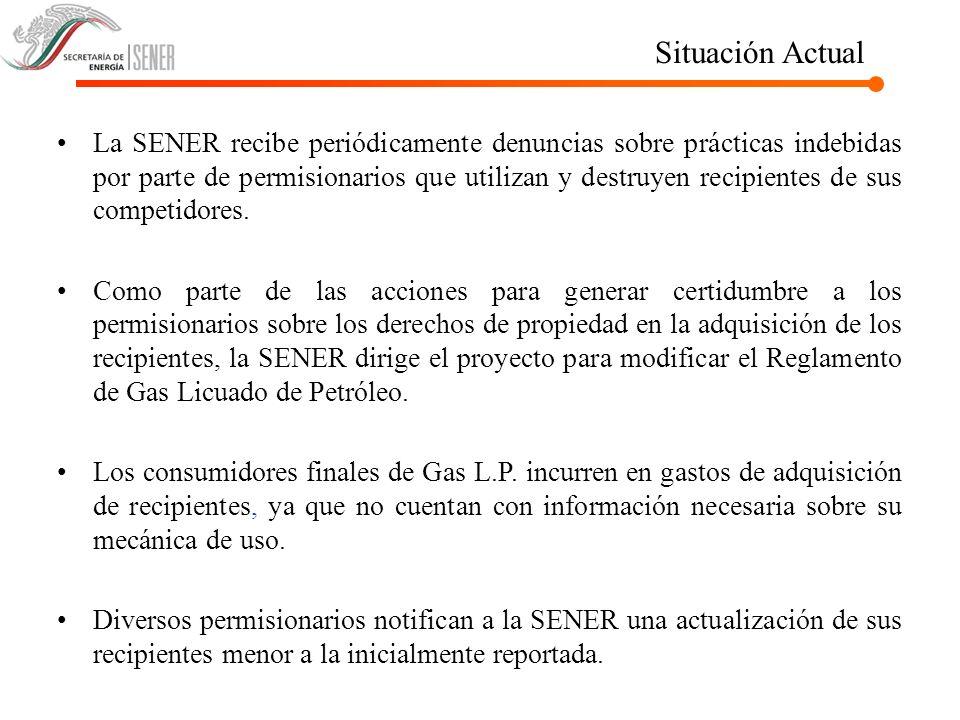 Situación Actual La SENER recibe periódicamente denuncias sobre prácticas indebidas por parte de permisionarios que utilizan y destruyen recipientes d