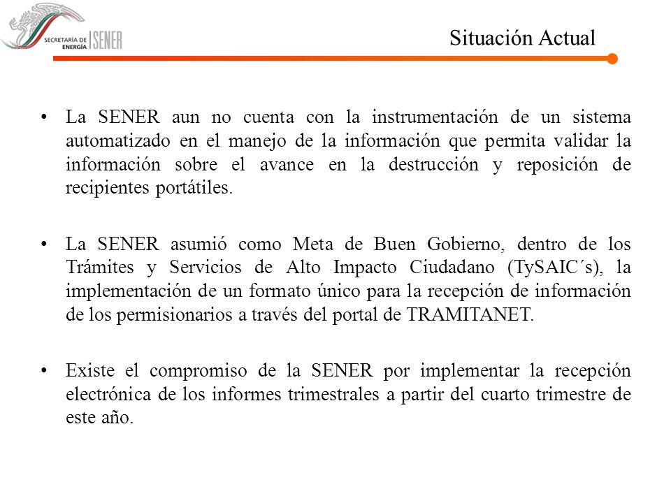 Situación Actual La SENER aun no cuenta con la instrumentación de un sistema automatizado en el manejo de la información que permita validar la inform