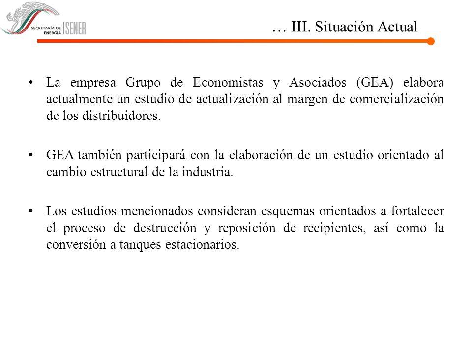 … III. Situación Actual La empresa Grupo de Economistas y Asociados (GEA) elabora actualmente un estudio de actualización al margen de comercializació