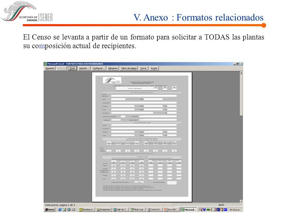 V. Anexo : Formatos relacionados El Censo se levanta a partir de un formato para solicitar a TODAS las plantas su composición actual de recipientes.