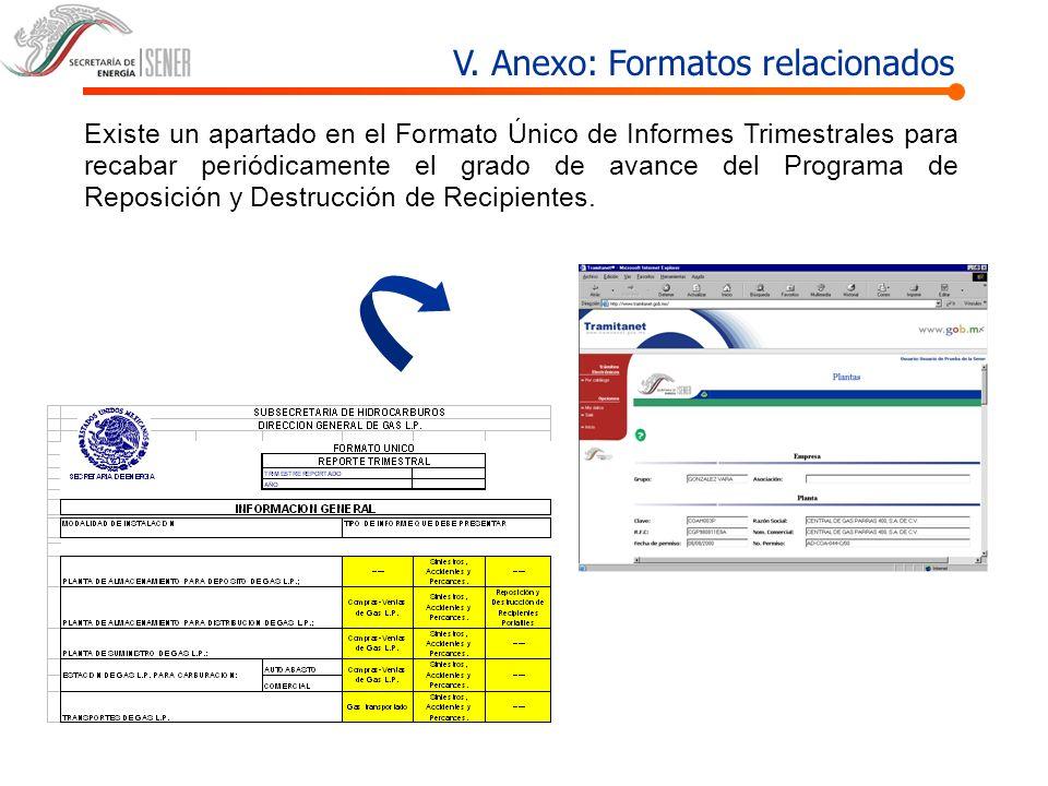 V. Anexo: Formatos relacionados Existe un apartado en el Formato Único de Informes Trimestrales para recabar periódicamente el grado de avance del Pro