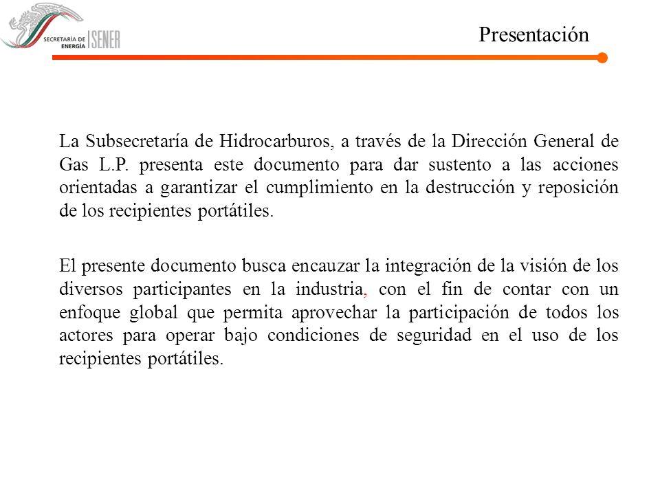 Introducción A partir del Convenio celebrado en julio de 2004 que complementa el celebrado en el 2002, la Secretaría de Energía (SENER) coordina los trabajos para determinar las acciones que garanticen la reposición de recipientes portátiles entre los diversos participantes de la industria del Gas L.P.
