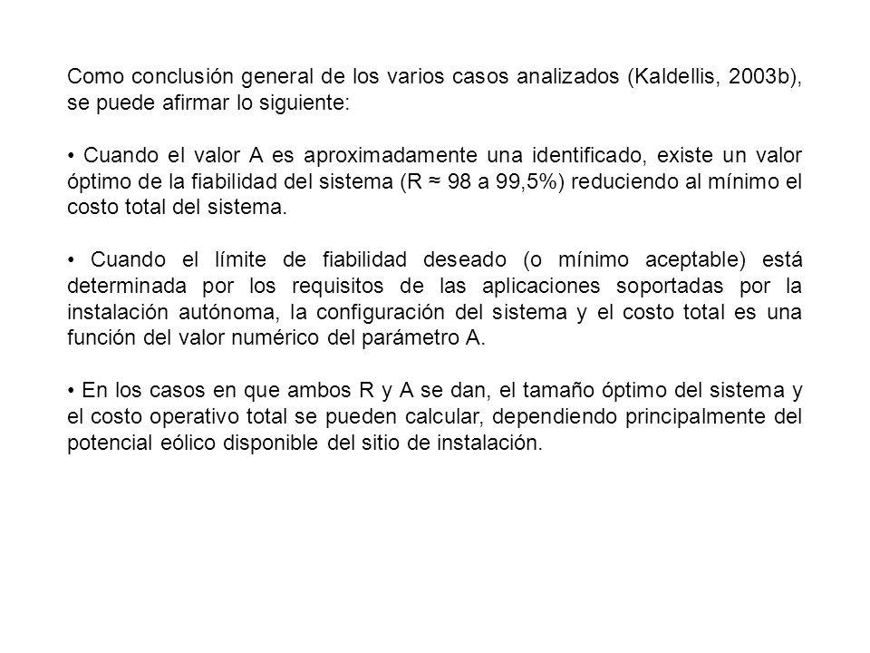 Como conclusión general de los varios casos analizados (Kaldellis, 2003b), se puede afirmar lo siguiente: Cuando el valor A es aproximadamente una ide