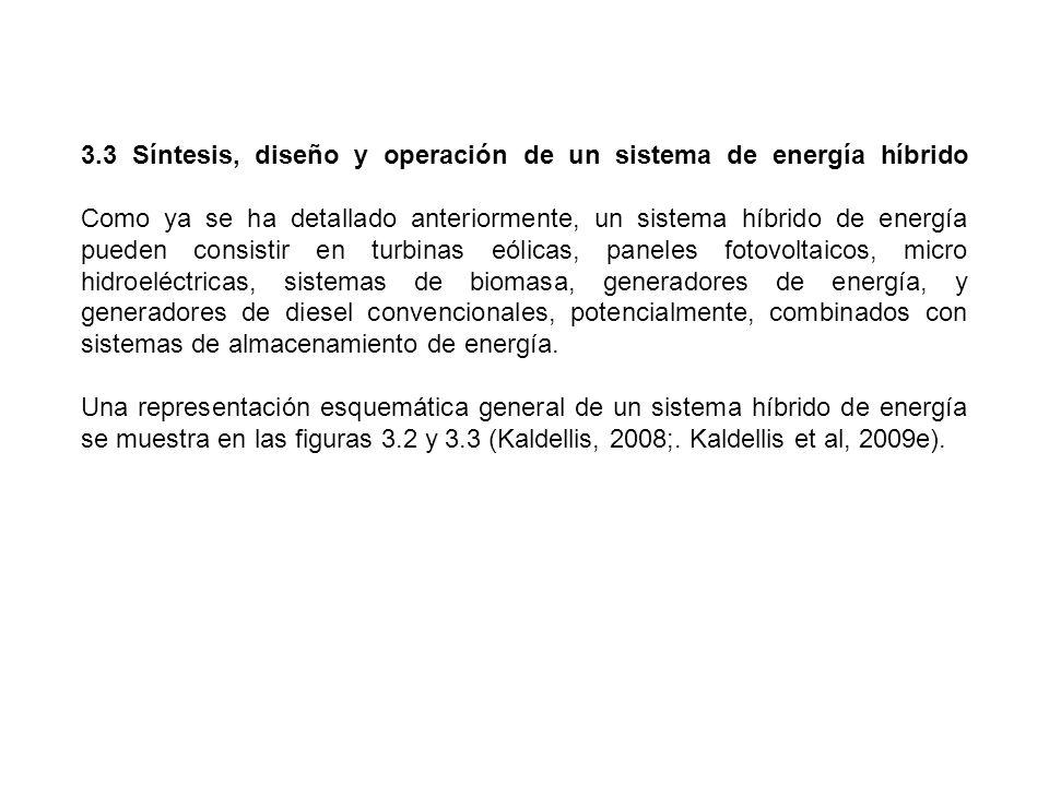 3.3 Síntesis, diseño y operación de un sistema de energía híbrido Como ya se ha detallado anteriormente, un sistema híbrido de energía pueden consisti