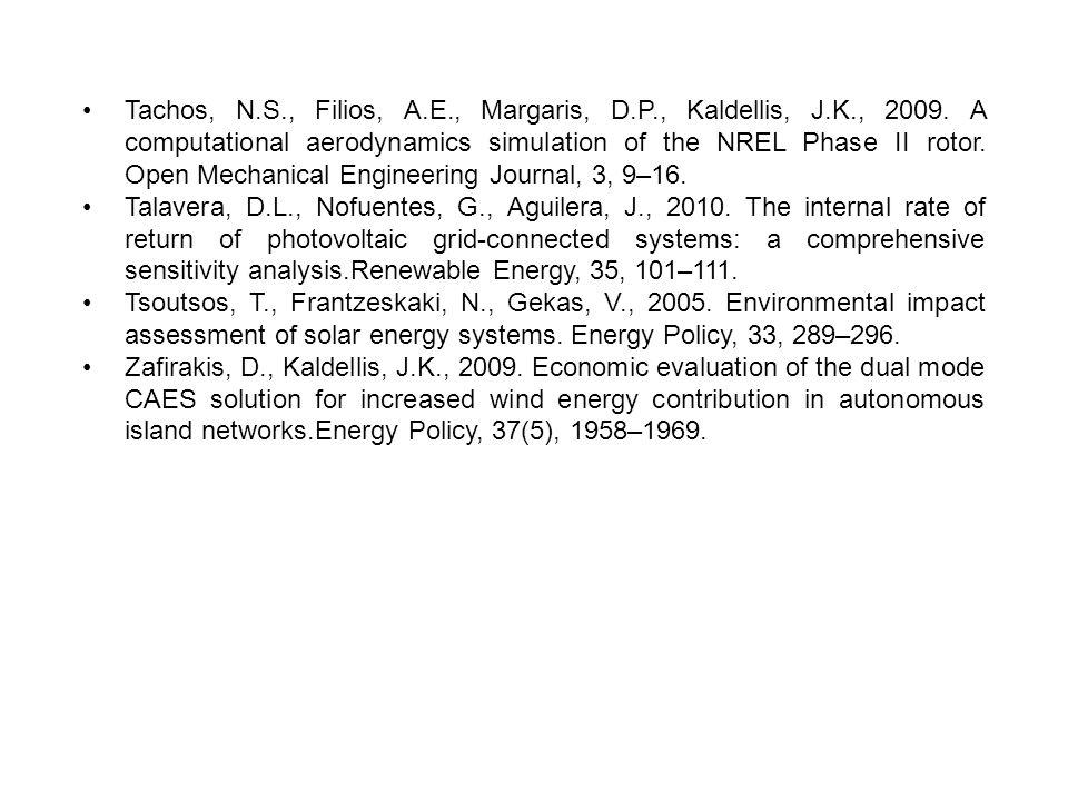 Tachos, N.S., Filios, A.E., Margaris, D.P., Kaldellis, J.K., 2009. A computational aerodynamics simulation of the NREL Phase II rotor. Open Mechanical