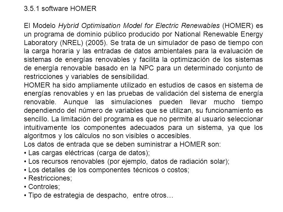 3.5.1 software HOMER El Modelo Hybrid Optimisation Model for Electric Renewables (HOMER) es un programa de dominio público producido por National Rene