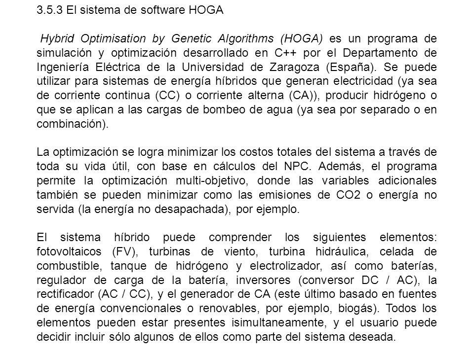 3.5.3 El sistema de software HOGA Hybrid Optimisation by Genetic Algorithms (HOGA) es un programa de simulación y optimización desarrollado en C++ por