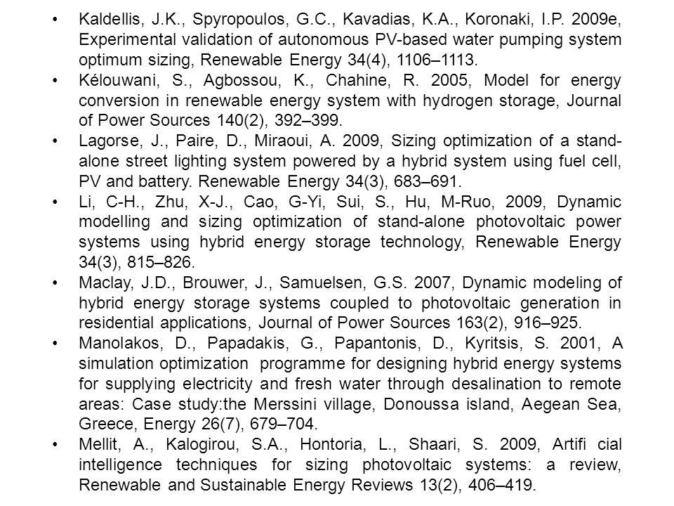 Kaldellis, J.K., Spyropoulos, G.C., Kavadias, K.A., Koronaki, I.P. 2009e, Experimental validation of autonomous PV-based water pumping system optimum