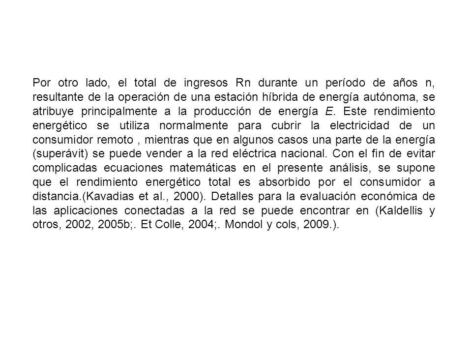 Por otro lado, el total de ingresos Rn durante un período de años n, resultante de la operación de una estación híbrida de energía autónoma, se atribu