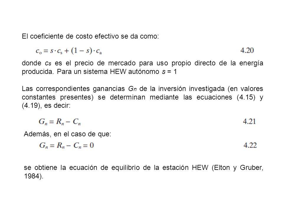 El coeficiente de costo efectivo se da como: donde c s es el precio de mercado para uso propio directo de la energía producida. Para un sistema HEW au