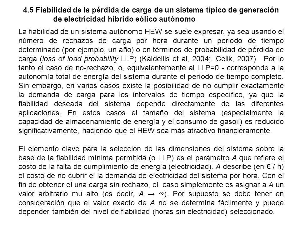 4.5 Fiabilidad de la pérdida de carga de un sistema típico de generación de electricidad híbrido eólico autónomo La fiabilidad de un sistema autónomo
