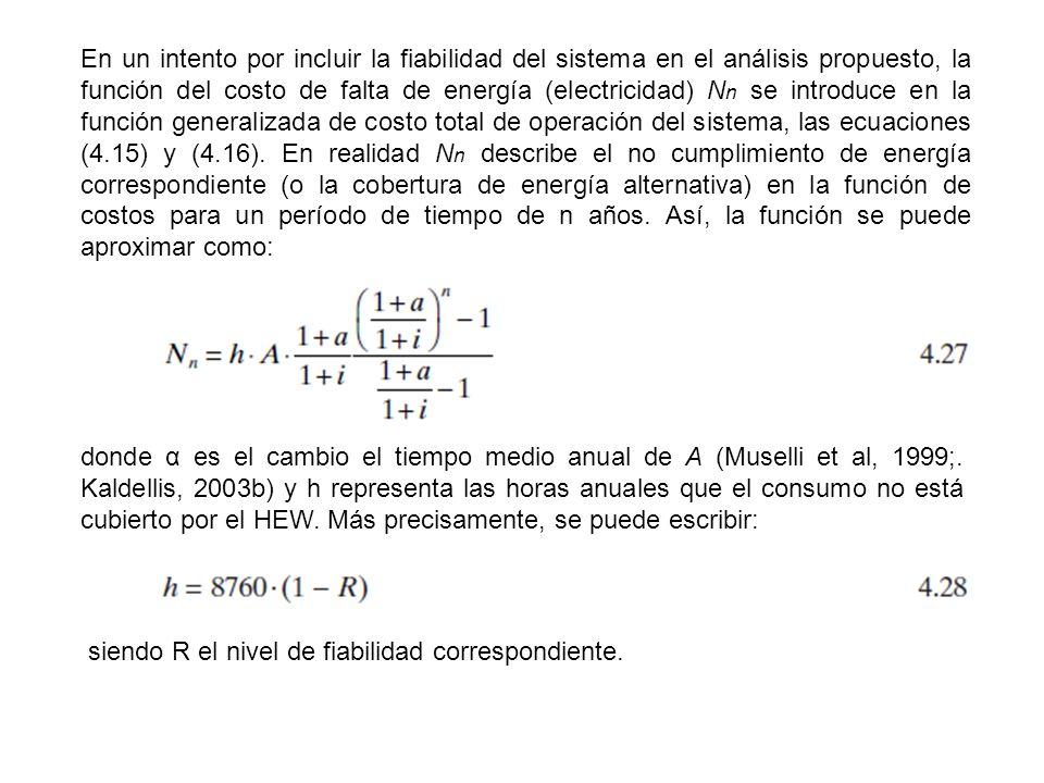 En un intento por incluir la fiabilidad del sistema en el análisis propuesto, la función del costo de falta de energía (electricidad) N n se introduce