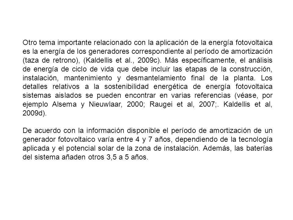 Otro tema importante relacionado con la aplicación de la energía fotovoltaica es la energía de los generadores correspondiente al período de amortizac