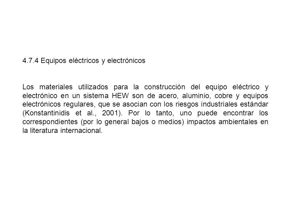 4.7.4 Equipos eléctricos y electrónicos Los materiales utilizados para la construcción del equipo eléctrico y electrónico en un sistema HEW son de ace