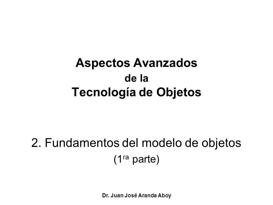 Dr. Juan José Aranda Aboy Aspectos Avanzados de la Tecnología de Objetos 2. Fundamentos del modelo de objetos (1 ra parte)