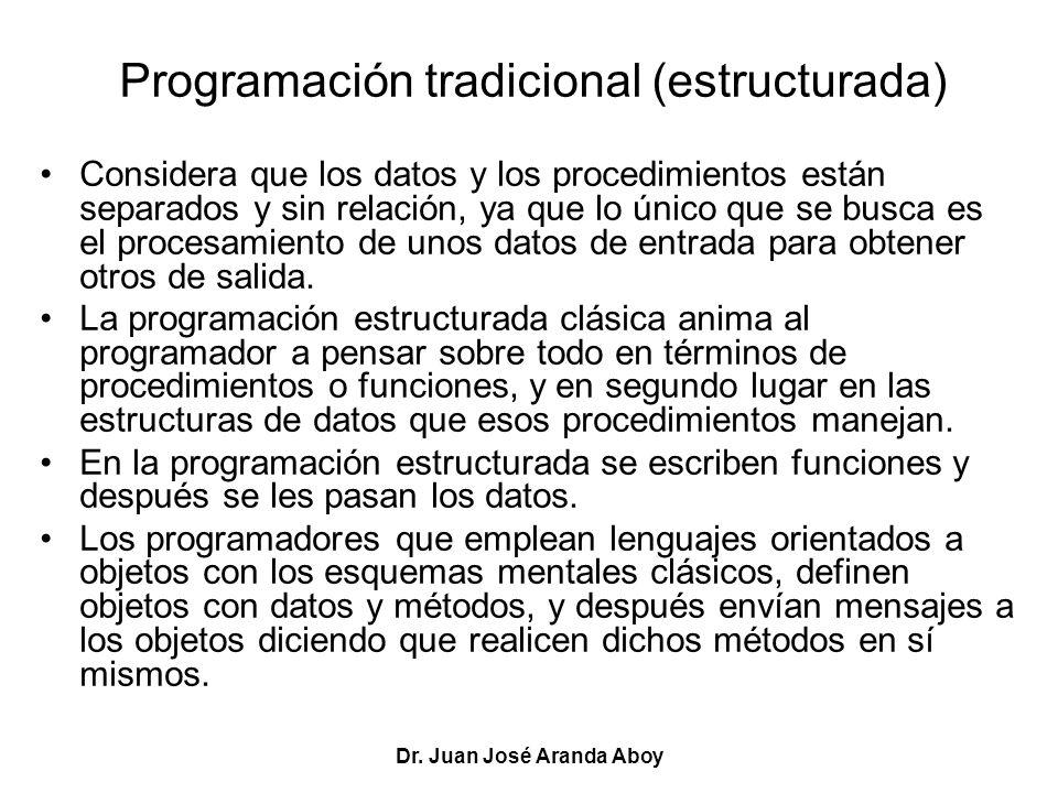 Dr. Juan José Aranda Aboy Programación tradicional (estructurada) Considera que los datos y los procedimientos están separados y sin relación, ya que
