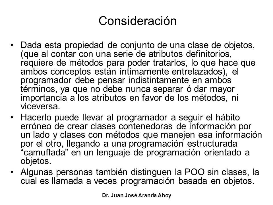 Dr. Juan José Aranda Aboy Consideración Dada esta propiedad de conjunto de una clase de objetos, (que al contar con una serie de atributos definitorio