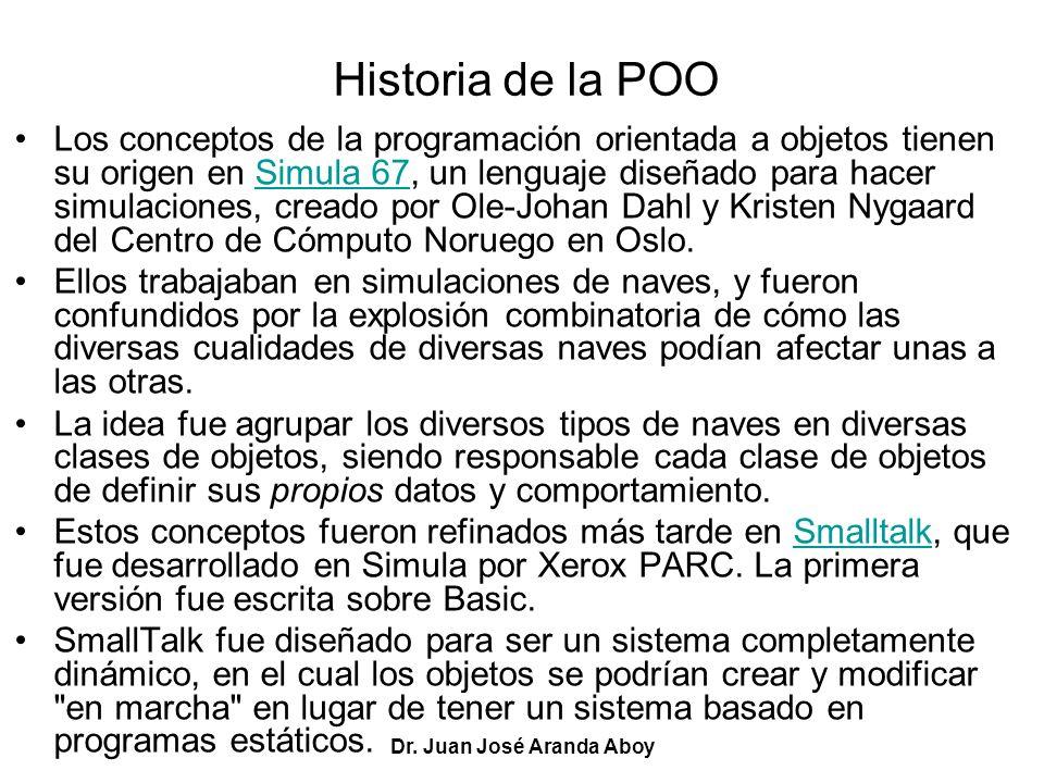 Dr. Juan José Aranda Aboy Historia de la POO Los conceptos de la programación orientada a objetos tienen su origen en Simula 67, un lenguaje diseñado