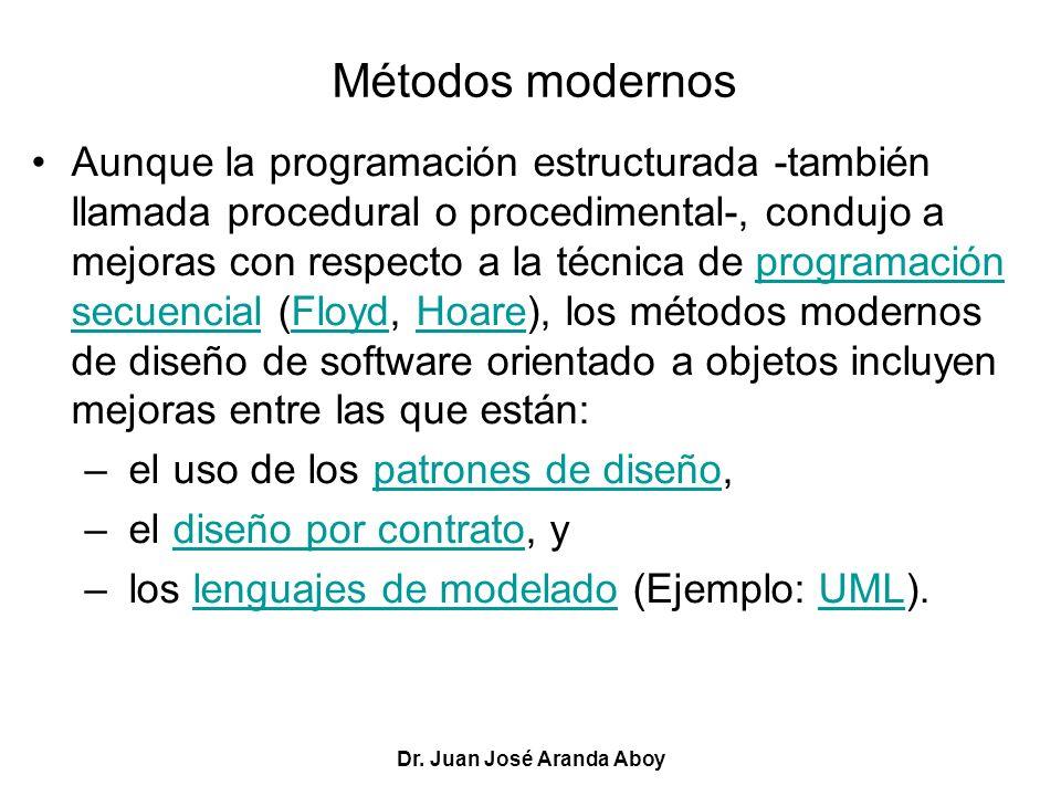 Dr. Juan José Aranda Aboy Métodos modernos Aunque la programación estructurada -también llamada procedural o procedimental-, condujo a mejoras con res