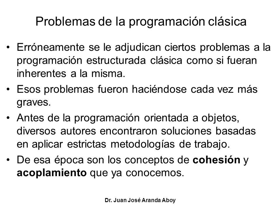 Dr. Juan José Aranda Aboy Problemas de la programación clásica Erróneamente se le adjudican ciertos problemas a la programación estructurada clásica c