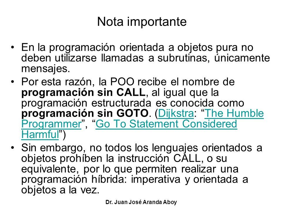 Dr. Juan José Aranda Aboy Nota importante En la programación orientada a objetos pura no deben utilizarse llamadas a subrutinas, únicamente mensajes.