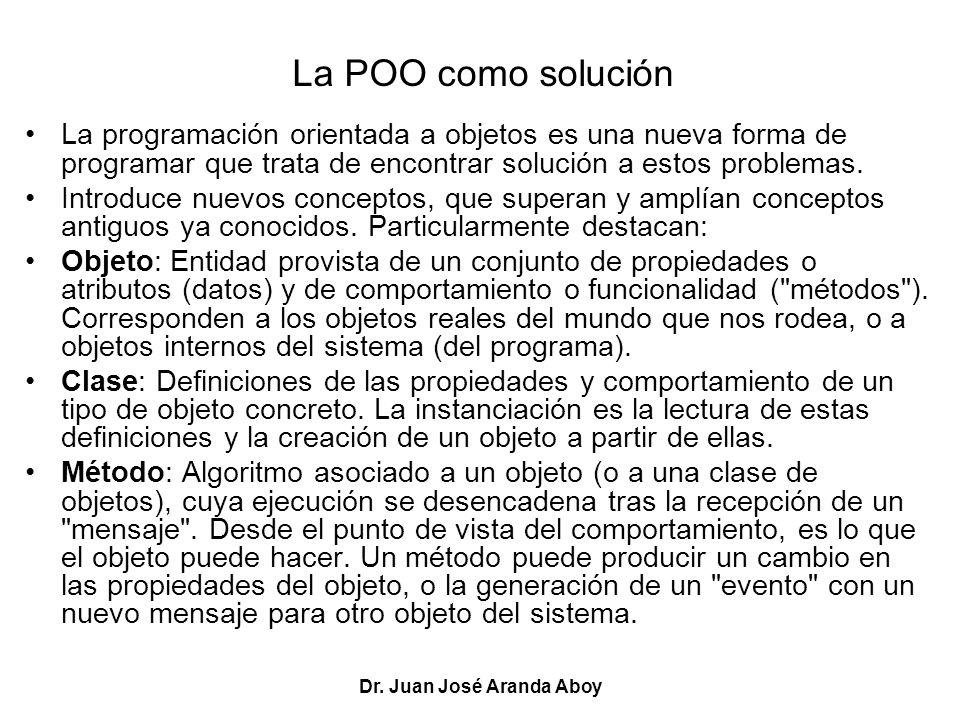 Dr. Juan José Aranda Aboy La POO como solución La programación orientada a objetos es una nueva forma de programar que trata de encontrar solución a e