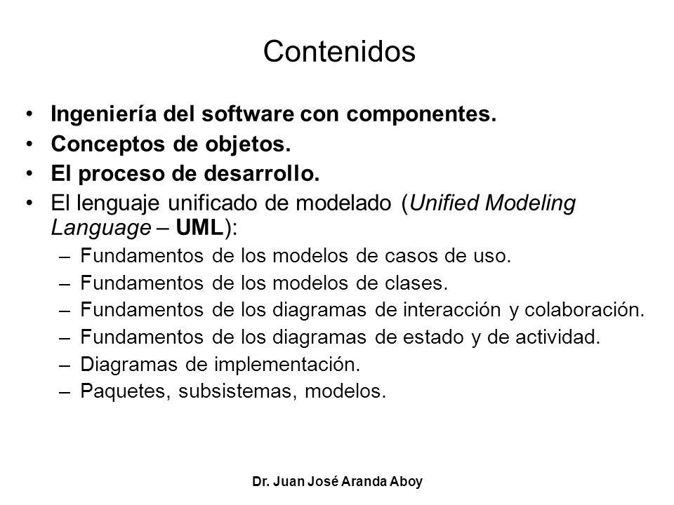 Dr. Juan José Aranda Aboy Contenidos Ingeniería del software con componentes. Conceptos de objetos. El proceso de desarrollo. El lenguaje unificado de