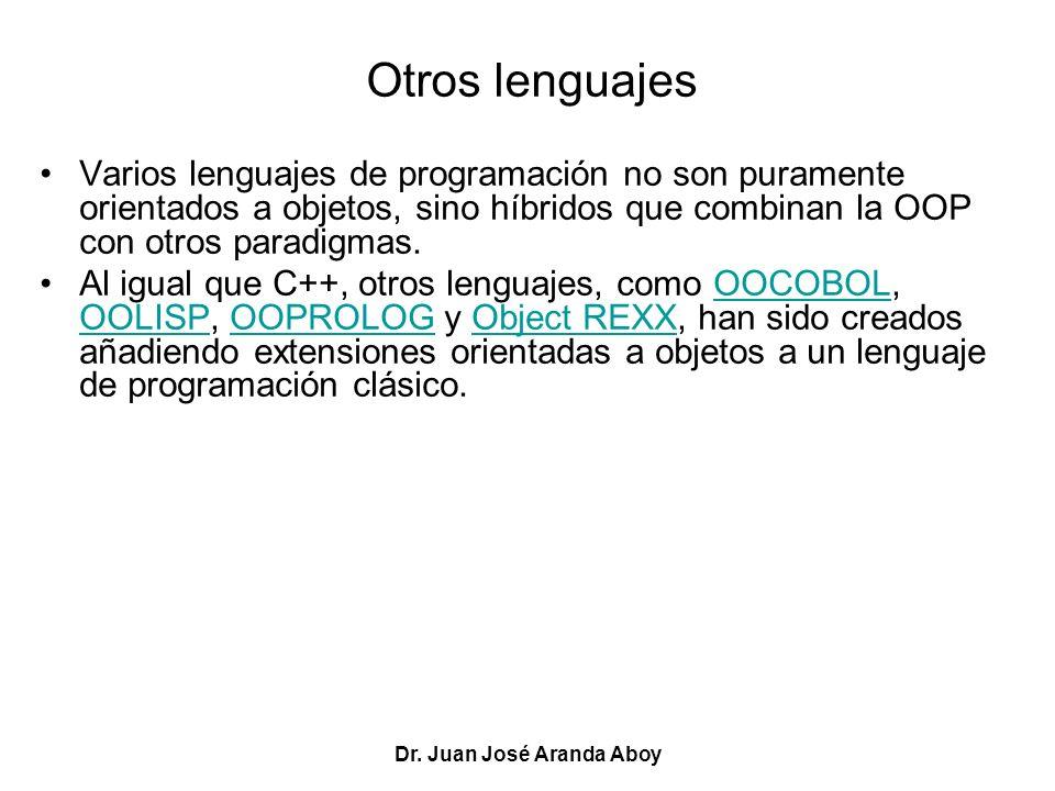 Dr. Juan José Aranda Aboy Otros lenguajes Varios lenguajes de programación no son puramente orientados a objetos, sino híbridos que combinan la OOP co