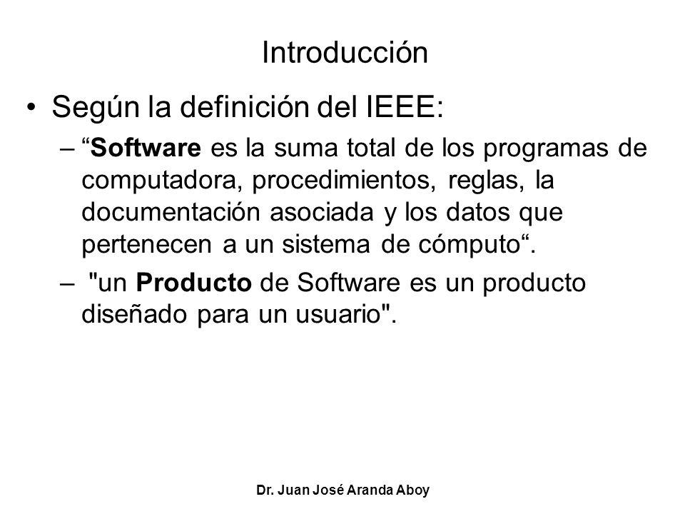Dr. Juan José Aranda Aboy Introducción Según la definición del IEEE: –Software es la suma total de los programas de computadora, procedimientos, regla