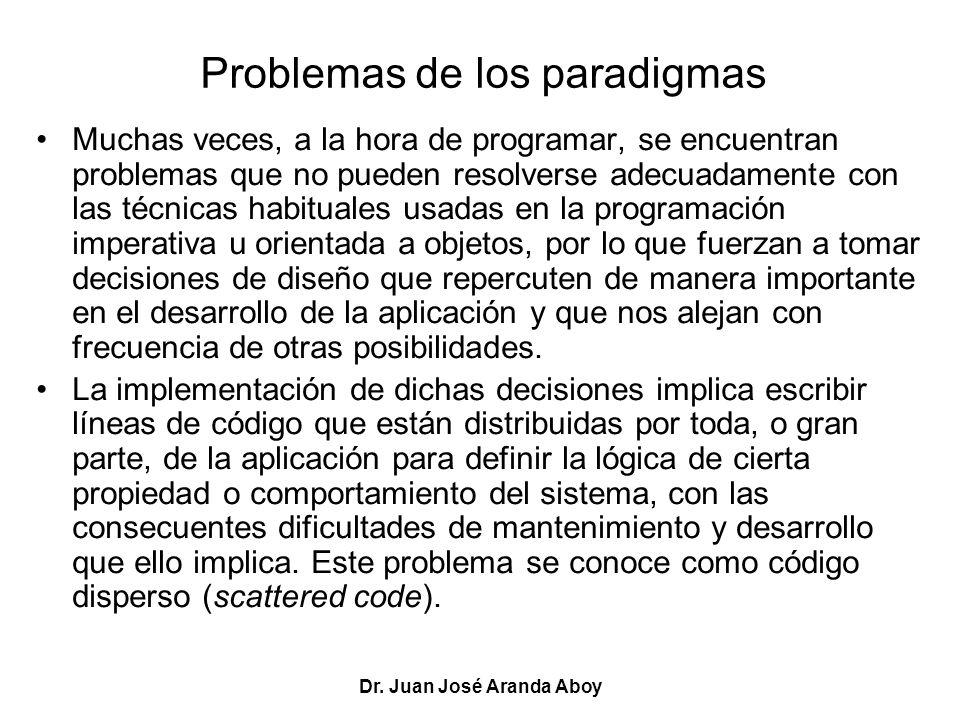 Dr. Juan José Aranda Aboy Problemas de los paradigmas Muchas veces, a la hora de programar, se encuentran problemas que no pueden resolverse adecuadam
