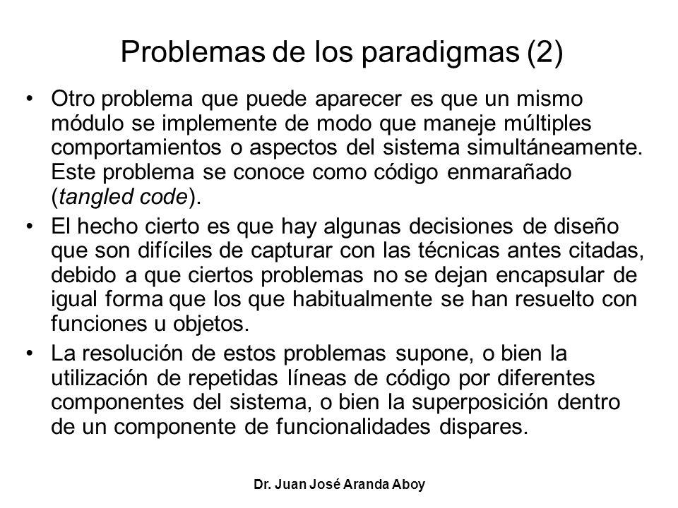Dr. Juan José Aranda Aboy Problemas de los paradigmas (2) Otro problema que puede aparecer es que un mismo módulo se implemente de modo que maneje múl
