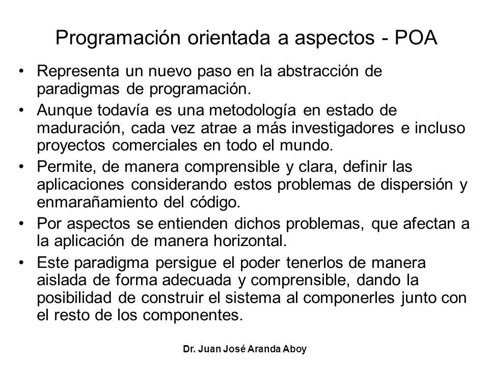 Dr. Juan José Aranda Aboy Programación orientada a aspectos - POA Representa un nuevo paso en la abstracción de paradigmas de programación. Aunque tod