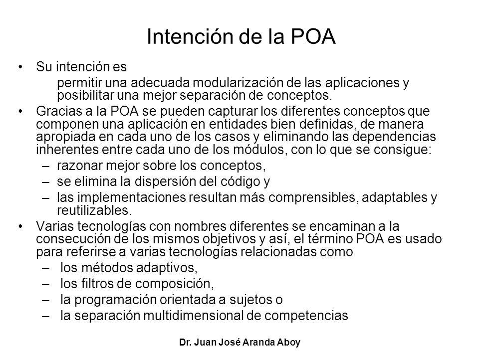 Dr. Juan José Aranda Aboy Intención de la POA Su intención es permitir una adecuada modularización de las aplicaciones y posibilitar una mejor separac